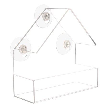 Removable Sucker Pet Transparent Window Bird Feeders House Shape Plastic Clear Bird Feeder