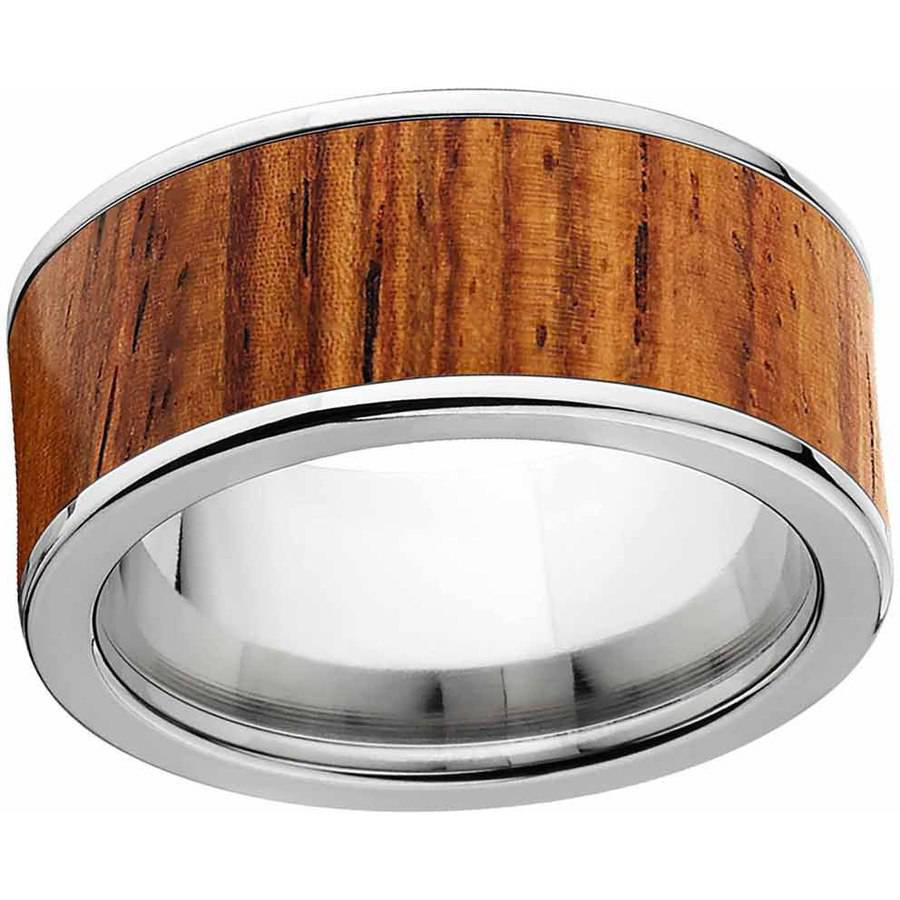 Men's Honduras Rosewood Exotic Wood Ring Crafted in Durable Stainless Steel