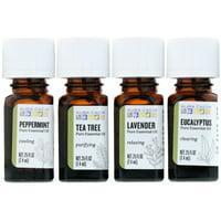 Aura Cacia Discover Essential Oils Kit, 4 Bottles, .25 fl oz (7.4 ml) Each