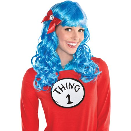 Blue Wigs For Thing 1 And 2 (Costumes USA Curly Dr. Seuss Thing 1 and Thing 2)