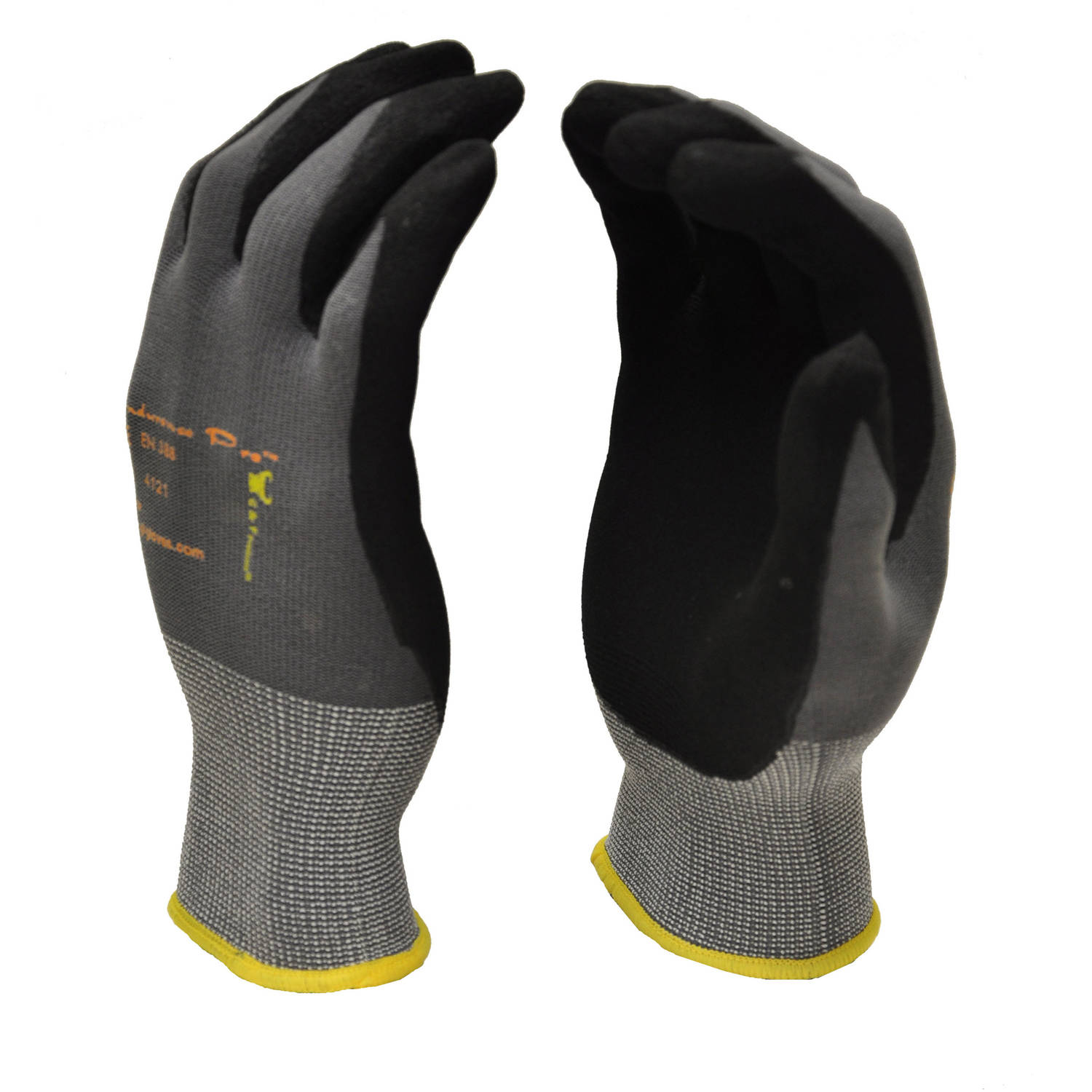 G & F EndurancePro Seamless Knit Nylon Gloves with Micro-foam Nitrile-Coated Palm, Men's X-Large, Black
