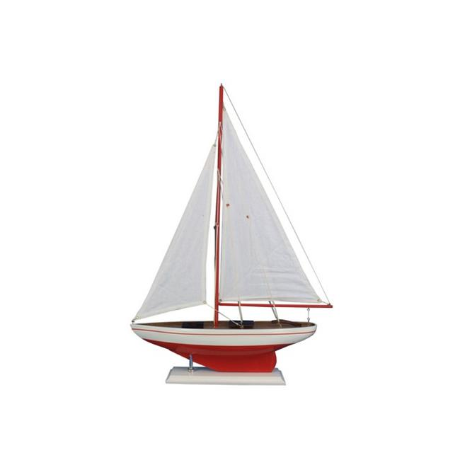 Handcrafted Decor PS 25-Red whitesails Wooden Red Pacific Sailer Model Sailboat Decoration, 25 inch by Handcrafted Decor
