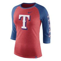 Texas Rangers Nike Women's Tri-Blend 3/4-Sleeve Raglan T-Shirt - Heathered Red/Heathered Royal
