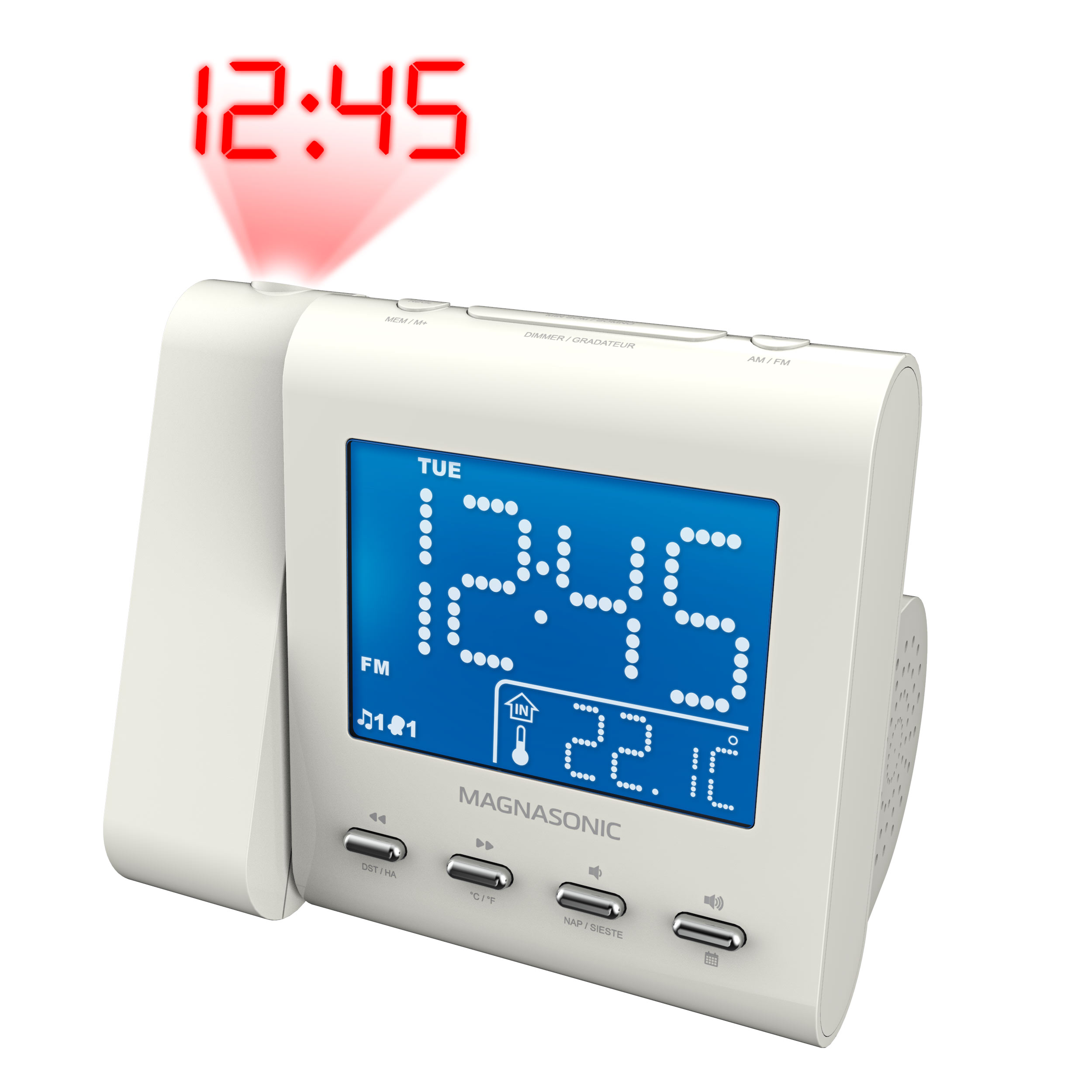 Magnasonic Projection Alarm Clock with AM/FM Radio, Battery Backup, Auto Time Set, Dual Alarm, Nap/Sleep Timer, Indoor Temperature/ Date Display with Dimming & 3.5mm Audio Input – White (EAAC601W)