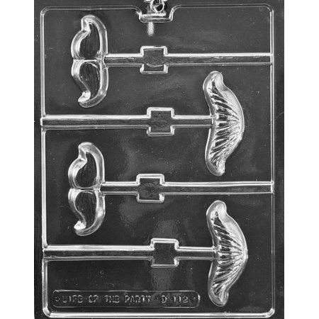 Mustache Assortment Lollipop Chocolate Mold - D112 - Includes Melting & Chocolate Molding Instructions