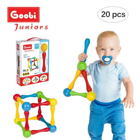 Goobi Juniors 20 Piece Magnetic Construction Set | STEM Learning | Educational Building Toy | Assorted Colors