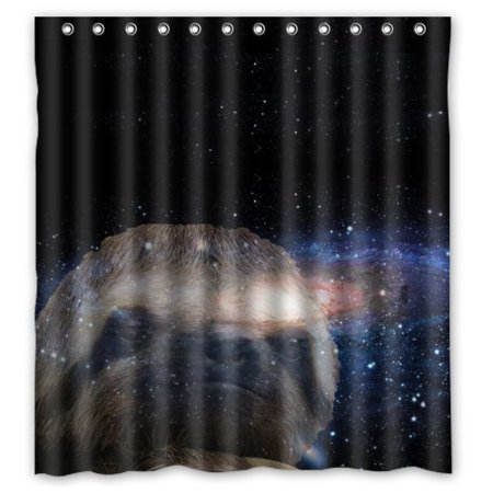 HelloDecor Sloth Nebula Galaxy Space Universe Shower Curtain Polyester Fabric Bathroom Decorative Size 66x72 Inches
