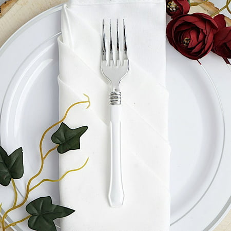 BalsaCircle 25 pcs 7-Inch Silver Disposable Plastic Party Forks with White Handle Wedding Catering Silverware Discounted Supplies