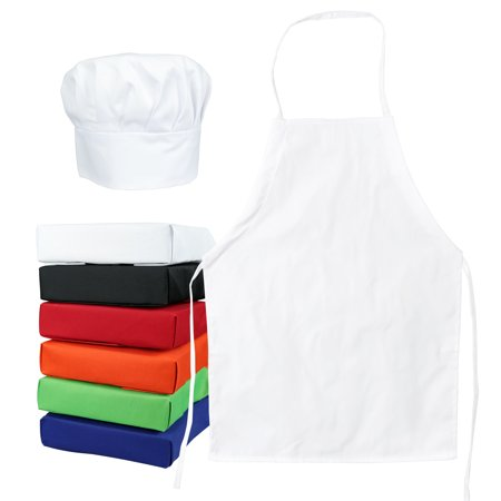 5 Tub Apron - Tessa's Kitchen Club Kids -Child's Chef Hat Apron Set, Kids Size, Children's Kitchen Cooking and Baking Wear Kit for those Chefs in Training (Med 6-12 Years, White)