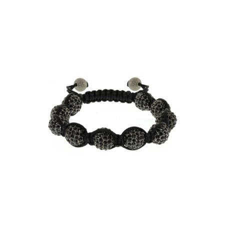 Stunning Adjustable Bracelet 10mm Shiny Black Crystal Solid Metal Pave Balls 10 Mm Pave Ball