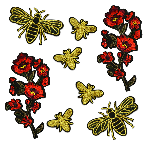 Expo Floral Buzz Embroidered Iron On Patch Collection 8pc