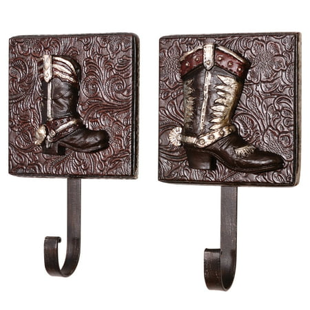 Western Cowboy Cowgirl Boots Wall Hooks Set of 2 Assorted Metal Resin Wall - Cowgirl Wall Decor