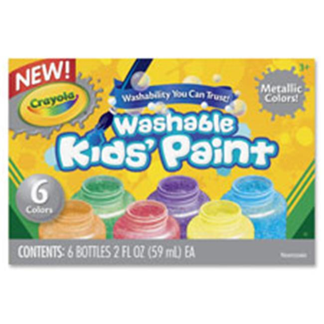 Crayola CYO545000 Metallic Colors Washable Kids Paint, 6 Per Set