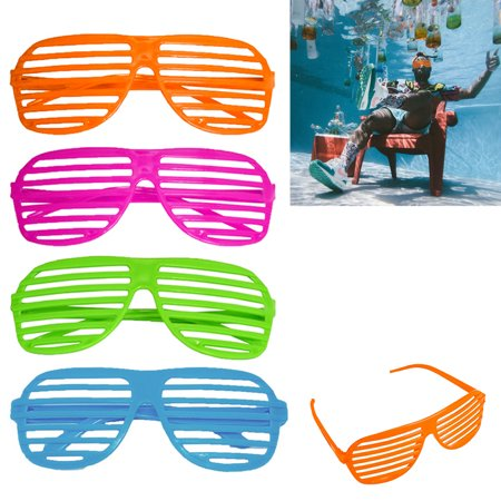 4 Pack Novelty Place Neon Color Party Shutter Glasses Slotted Shading Sunglasses - Shutter Glasses