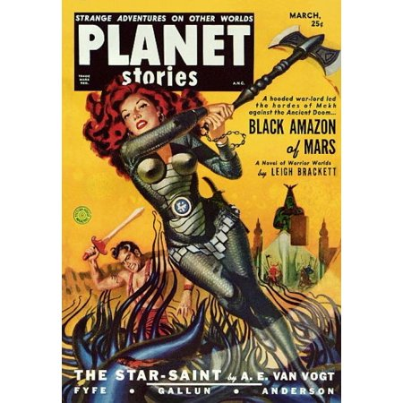 Vintage Sci Fi Planet Stories Black Amazon Mars Stretched Canvas -  (18 x