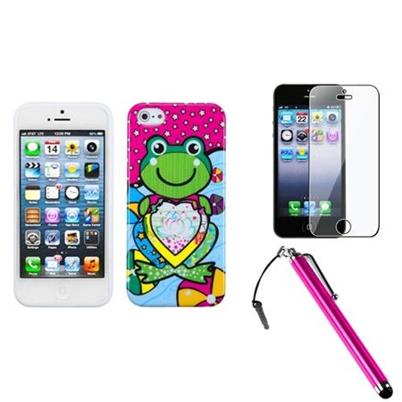 Insten Hot Pink Lotus Frog Candy Skin Case For iPhone 5S 5 + Stylus + LCD Guard (3-in-1 Accessory Bundle) Carry Case Lcd Guard