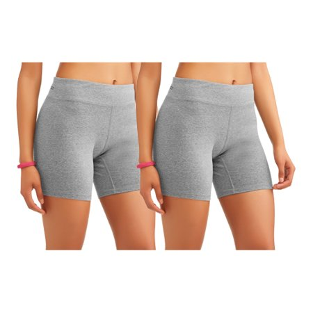 Danskin Spandex Shorts - Women's Core Active Dri-More Bike Short, 2 Pack Value Bundle