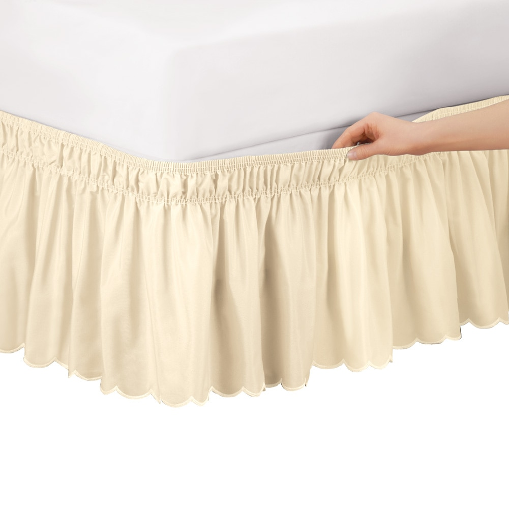 scalloped elastic bed wrap around easy fit dust ruffle bedskirt twinfull