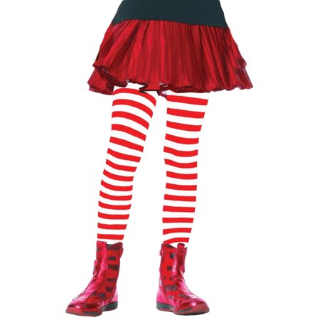 Morris Costumes Girls Tights Child Striped White/Red 7-10, Style UA4710WRDLG - Girls Red And White Striped Tights