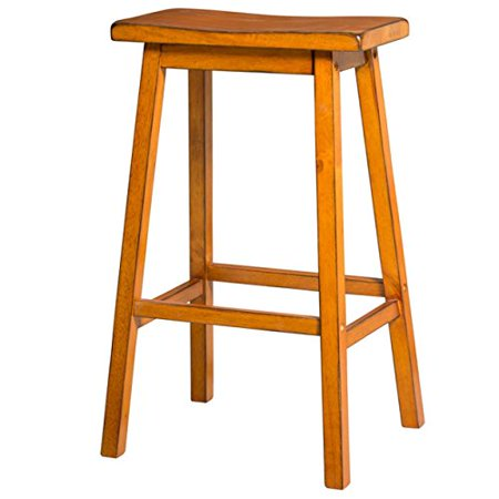 ModHaus Living Contemporary Style 29 inch Bar Height Saddle Seat Bar Stools | Oak Finish, Wood Frame, Home Decor (Set of 2) - Includes Pen (Oak)