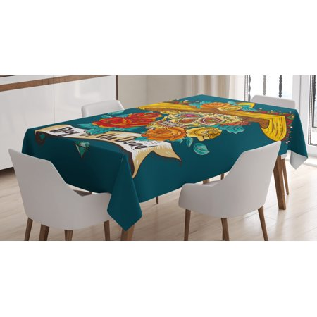Day Of The Dead Decor Tablecloth, Mexican Festive Hat Skull with Roses Print, Rectangular Table Cover for Dining Room Kitchen, 60 X 84 Inches, Petrol Blue Turquoise Orange Marigold, by Ambesonne ()