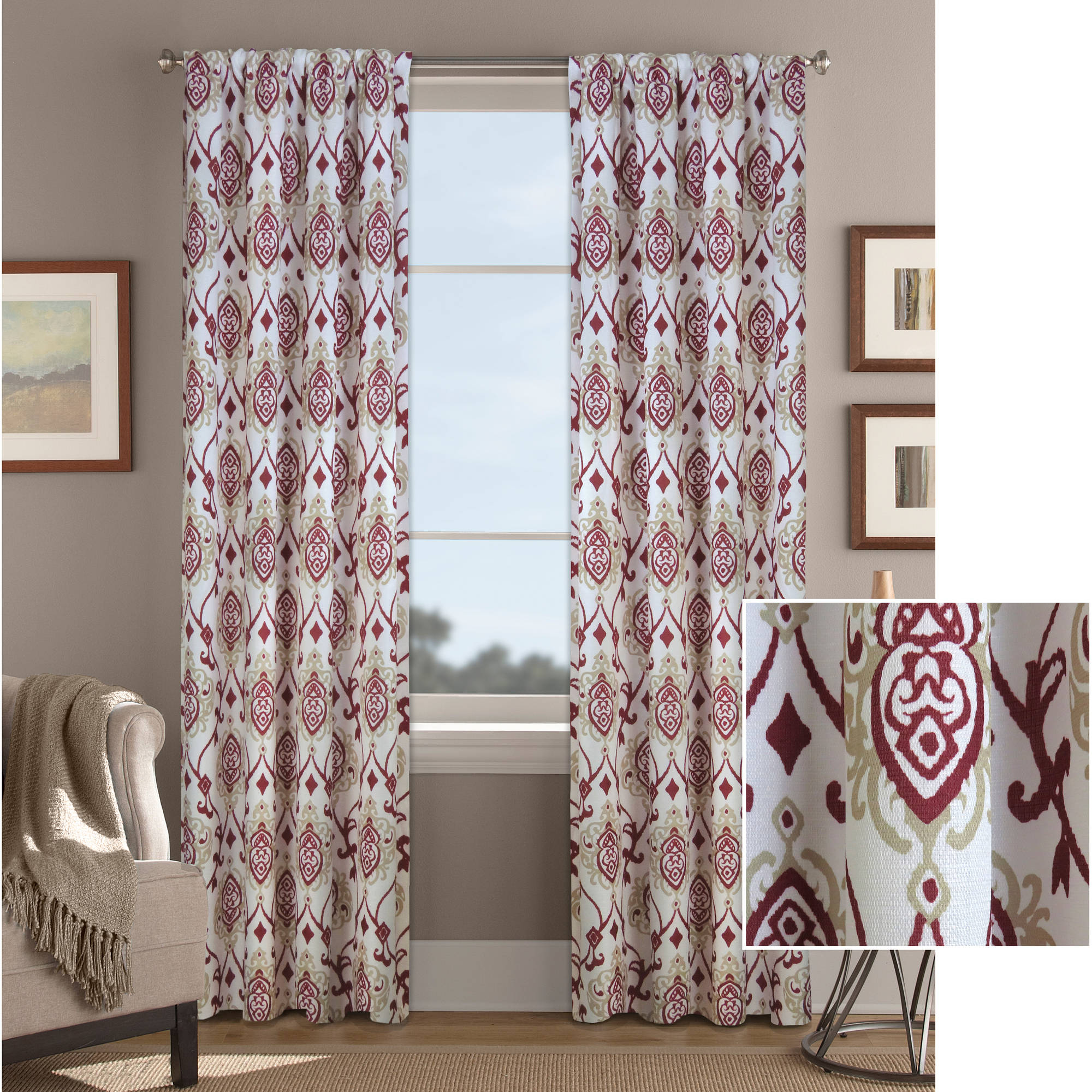 Better Homes and Gardens Damask Scroll Curtain Panel