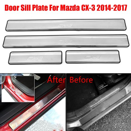 4PCS Stainless Steel Car Door Sill Scuff Plate Protector For Mazda CX-3 2014-2017