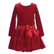 Little Girls Red Stretch Velvet Bow Accent Bubble Occasion Dress 2T-6