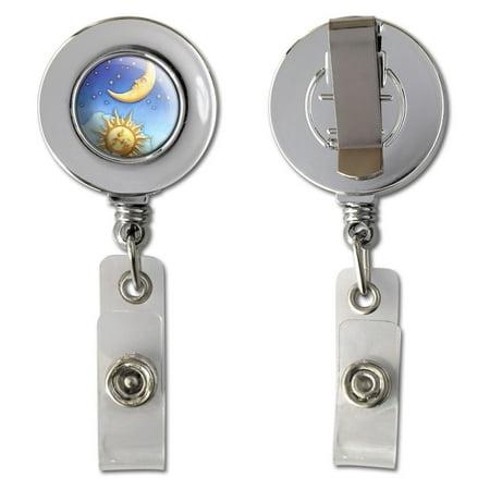Celestial Sun Moon Stars Retractable Reel Chrome Badge ID Card Holder
