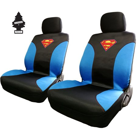 Pair Of New DC Comic Superman Sideless Neoprene Waterproof Car Seat Covers With Air Freshener