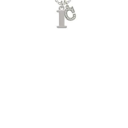 Large Greek Letter Iota C Crystal Initial Sophia Necklace 18