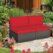 Gymax 2PCS Patio Wicker Rattan Sectional Armless Chair Sofa w/ Red Cushion