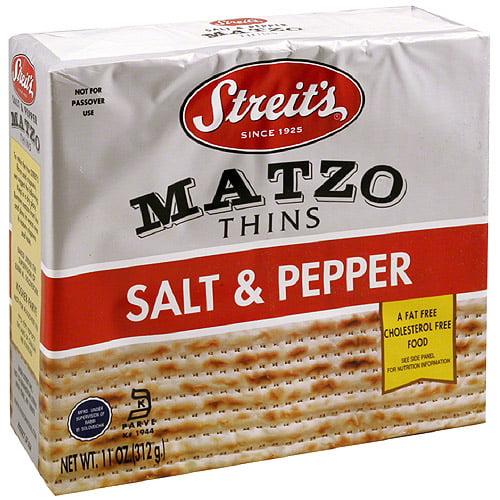 Streit's Salt & Pepper Matzo Thins, 11 oz, (Pack of 12)