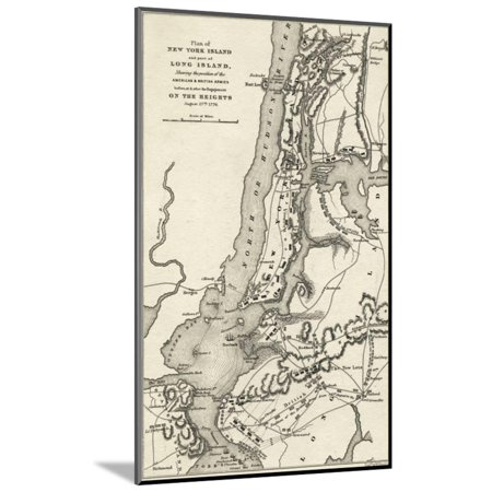 Map of the Battle of Brooklyn Heights and New York Wood Mounted Print Wall (Map Of Brooklyn New York Zip Codes)