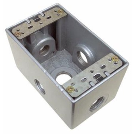 Weatherproof Boxes - One Gang Deep 24 Cubic Inch - 5 Outlet Holes 1/2in. (1 Gang Aluminum Deep Outlet)