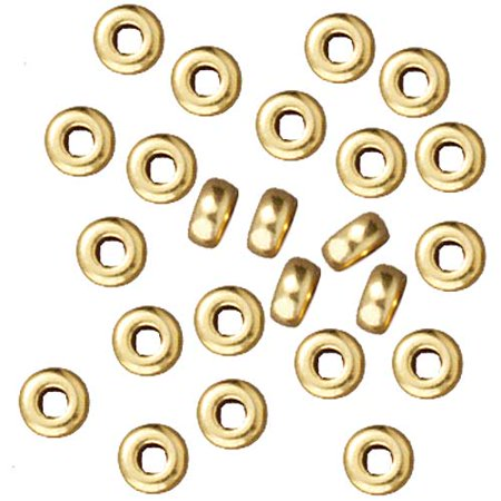 Bright 22K Gold Plated Lead-Free Pewter Disk Heishi Spacer Beads 3mm (50) ()
