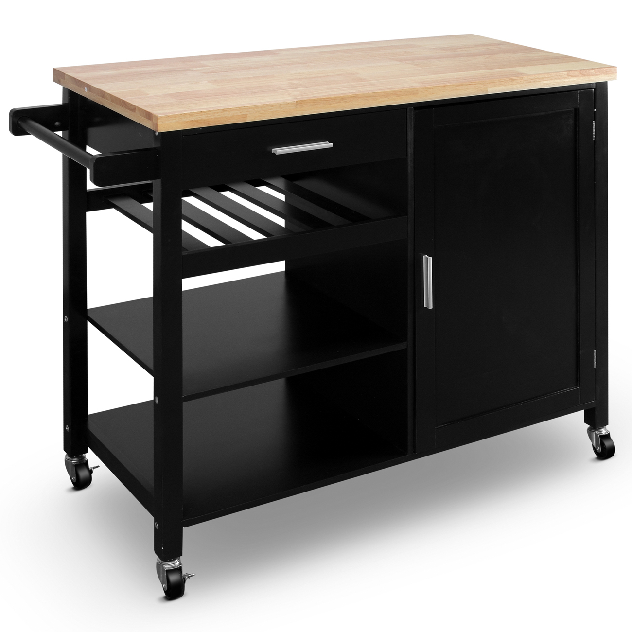 Belleze Wood Top Multi Storage Cabinet Rolling Kitchen Island Table Cart With Wheels Black