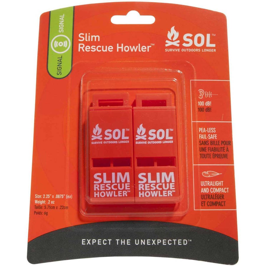 Survive Outdoors Longer Slim Rescue Howler Whistle (2-Count)