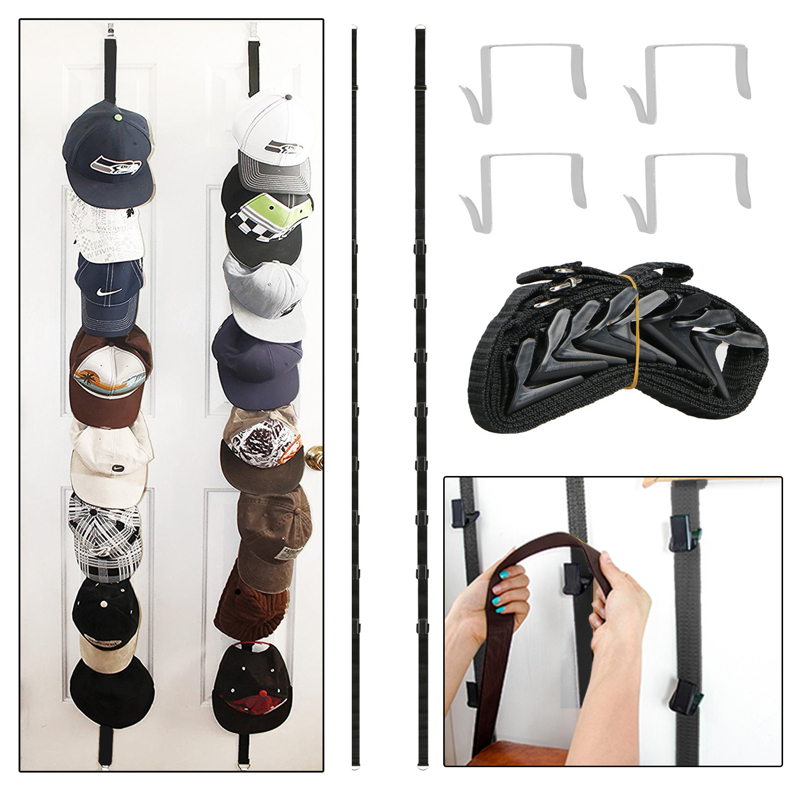 EEEKit 2-pack Over the Door Purse Clip Hanger Hat Rack Storage Organizer Holders Hook