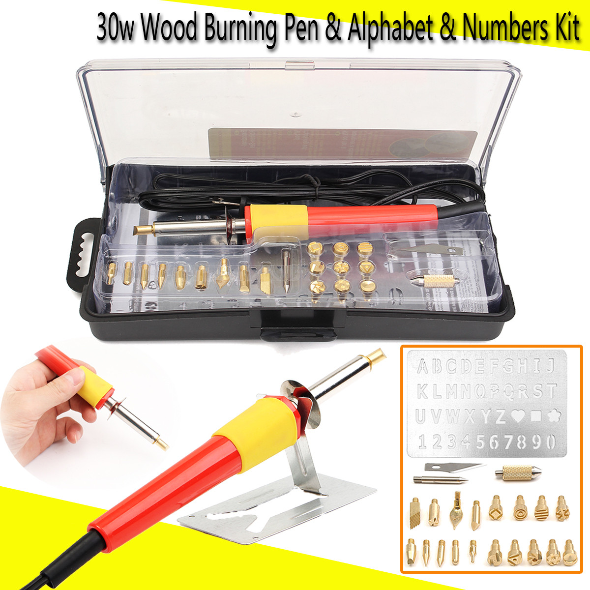 Wood Burning PYROGRAPHY SET Pen Tips Art Crafts Tools Kit ALPHABET NUMBERS