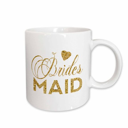 3dRose Bridesmaid In Faux Digital Gold With A Heart - Ceramic Mug, 11-ounce