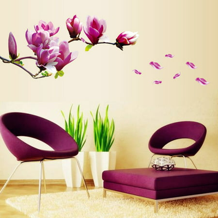Beautiful Mangnolia Flowers Removable Wall Art Decals Vinyl Stickers Wallpaper Mural ()