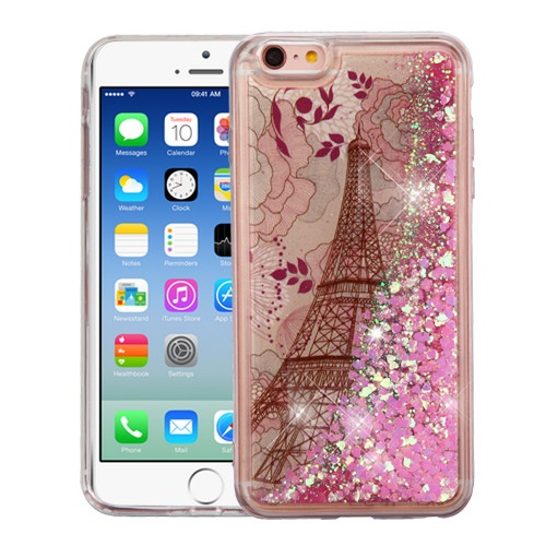 For iPhone 6/6s Quicksand Liquid Bling Glitter Hybrid Rubber Protector Cover
