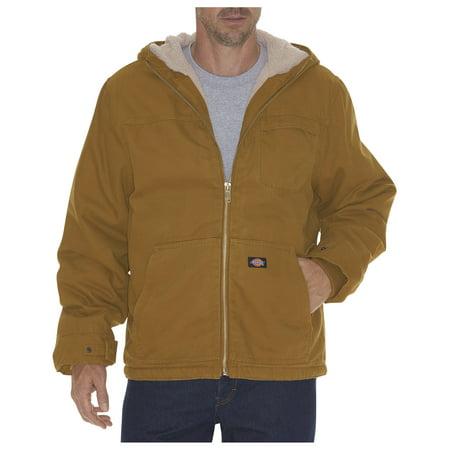 Dickies Mens Duck Sherpa Lined Hooded Jacket, Rinsed Brown Duck - L TL