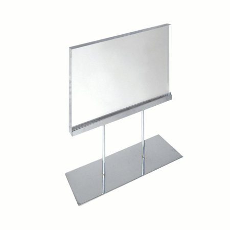 Counter Sign Display Holder (The Elite Series: Medium Acrylic Block Sign Holder On Chrome Stand For Counter 11