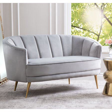 Devon & Claire Olivia channel Tufted Velvet Sofa, Grey