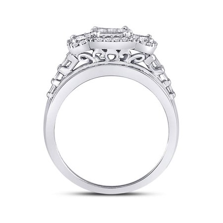 10kt White Gold Womens Princess Diamond Triple Cluster Ring 1.00 Cttw - image 1 of 4