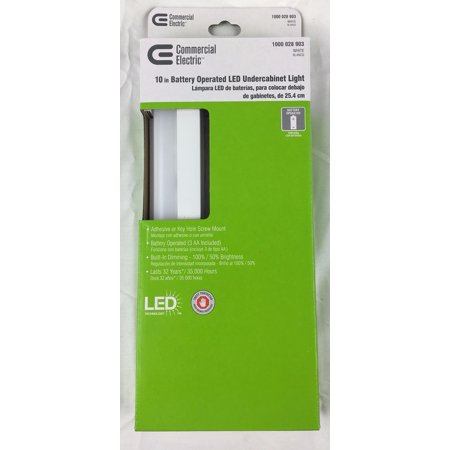 Commercial Electric 10 in. White Battery Operated LED Under Cabinet - Commercial Electric Lighting