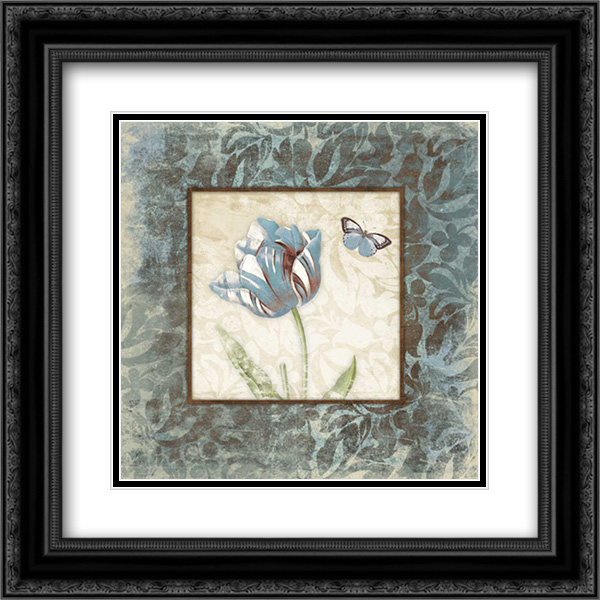Butterfly Tulip 2 2x Matted 20x20 Black Ornate Framed Art Print by Grey, Jace
