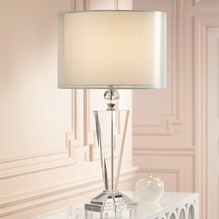Playroom Trophies (Vienna Full Spectrum Modern Table Lamp Clear Crystal Trophy Double Sheer Silver and White Drum Shade for Living Room)
